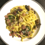 PAPPARDELLE in a sausage and porcini mushroom sauce