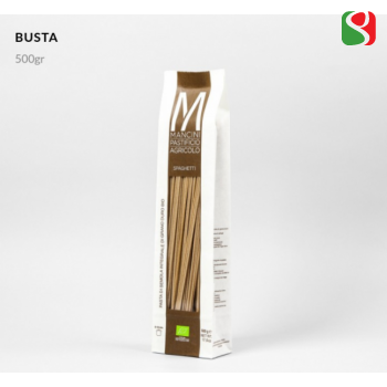 """Spaghetti"" HIGH QUALITY BIOLOGICAL Whole Wheat ITALIAN pasta from best Italian producer: PASTIFICIO AGRICOLO MANCINI"
