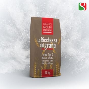 """""""La Ricchezza del Grano"""" type 2 Wholemeal Pizza Flour, 25 kg"""