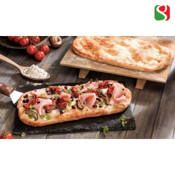 """PIZZA base """"Pinsa Style"""", 14x28 cm, 180 g (soft wheat flour type 00, tritordeum flour, a mix of cereal flakes such as teff, oats, barley, amaranth grains, quinoa and linseed), 10 tkk = 1 box"""
