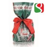"""Pikk küpsetatud traditsiooniline jõulukook """"Panettone"""", mis on ümbritsetud GOLDi jõulupaberiga - 1 kg - kvaliteetne viimistletud"""