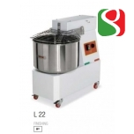 spiral kneaders to make pizza dough WITH 2 SPEEDS - dimensions: 400mm (width) x 700mm (length) x 680mm (height); 230-400/50 V/Hz, power 1 Hp, weight of mix 17 Kg, volume of mix 22 Lt, weight of the machine 65 ca. Kg
