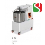 spiral kneaders to make pizza dough - dimensions: 300mm (width) x 550mm (length) x 320mm (height); 230-400/50 V/Hz, power 0,5 Hp, weight of mix 8 Kg, volume of mix 10 Lt, weight of the machine 41 ca. Kg