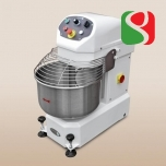 spiral kneader to make pizza dough, 18 kg of flour = 115 pizzas (with 60% of Hydratation) - 2 SPEEDS + reverse rotation, wheels, double electro-mechanical timers, lighted bowl - dimensions: 480mm (width) x 800mm (length) x 960mm (height); 400/50/3 V/Hz/ph
